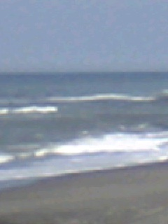 撃沈!  手前は濁りとゴミ。良さそうな場所は、波乗り天国。